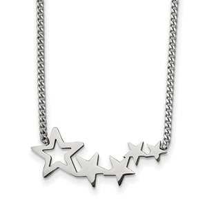 Stainless Steel Polished Stars extension Necklace