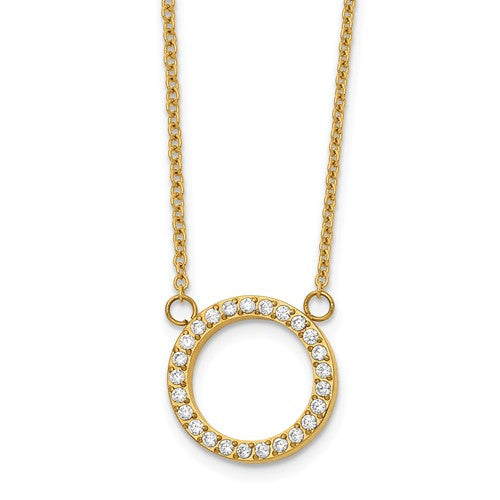Yellow Cz Halo Necklace