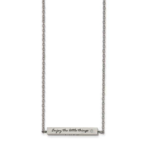 Stainless Steel Polished CZ Enjoy the little things Bar Neck