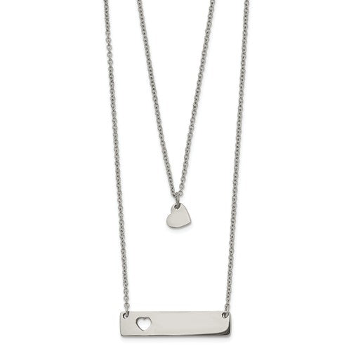 Stainless Steel Polished Heart and Bar Multi-strand Necklace