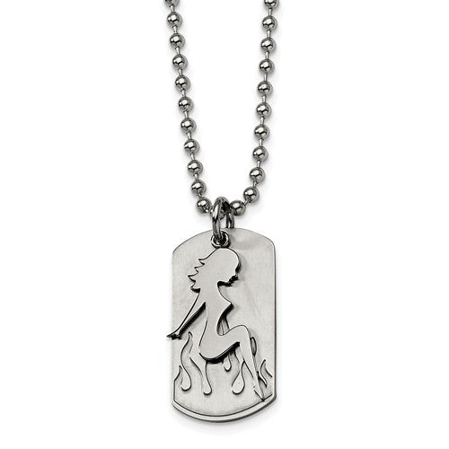 Girl Flames on Dog Tag Necklace