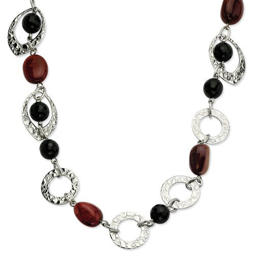 Stainless Steel Textured Oval Onyx and Ocean stone Necklace