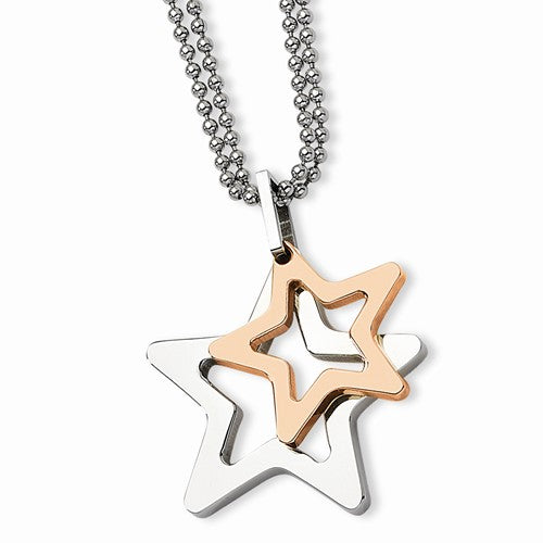 Stainless Steel 24k Plated Stars Pendant Necklace