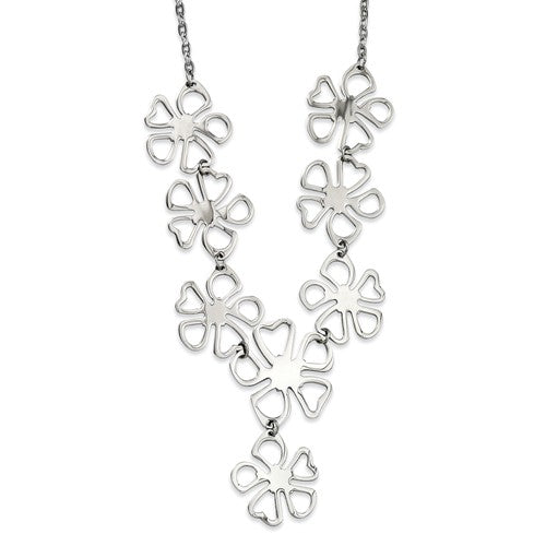Stainless Steel Polished Flowers Y Necklace