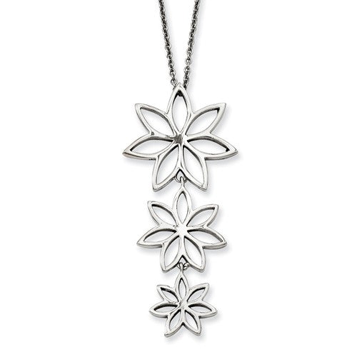 Stainless Steel Polished Flowers Necklace