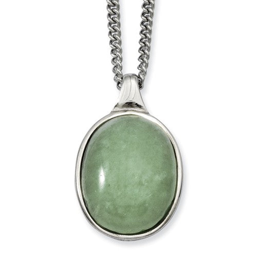 Stainless Steel Green Aventurine Pendant Necklace
