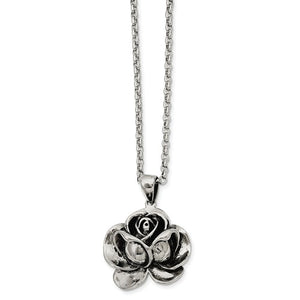 Stainless Steel Antique Finish Flower Pendant Necklace