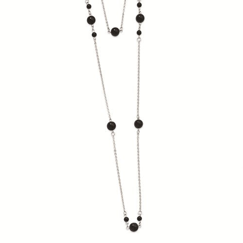 Stainless Steel Black-plated Beads Draped Necklace
