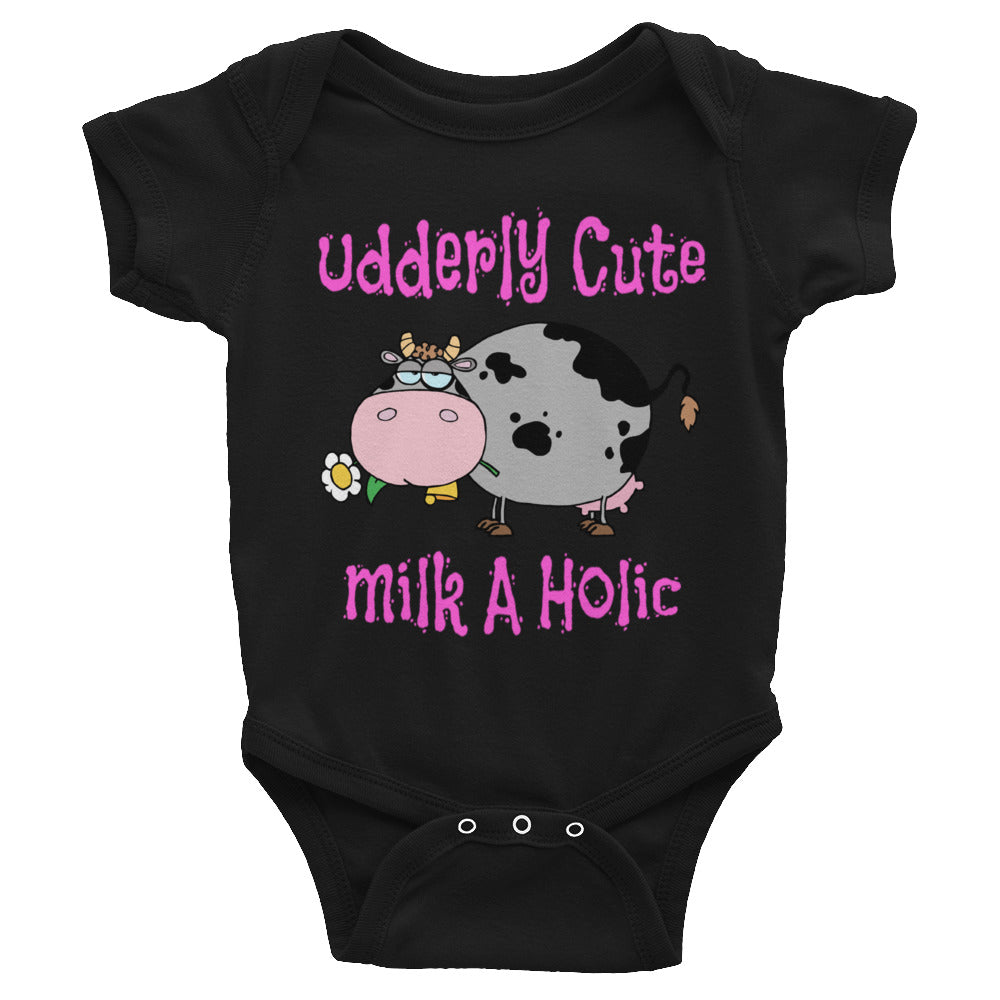 Bodysuit for Baby or Toddler Udderly Cute Funny Cow!  Makes a Great Baby Shower Gift.