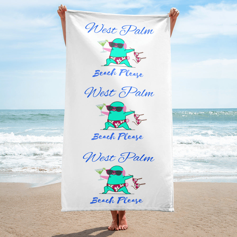 Beach Towel West Palm Beach Please Funny Topless Yoga Cat with Sun Glasses and Margarita Design |See Matching Items