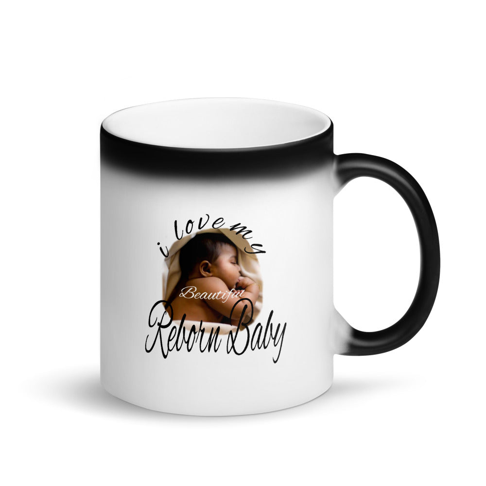 African American Reborn Baby Doll Matte Black Magic Mug