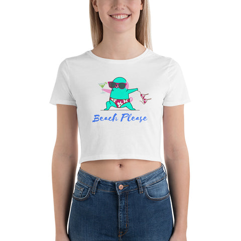 Beach Please Yoga Cat Getting Ready to Let It All Hang Out While On Vacation!  Funny.  Cute.  Women's Crop Tee