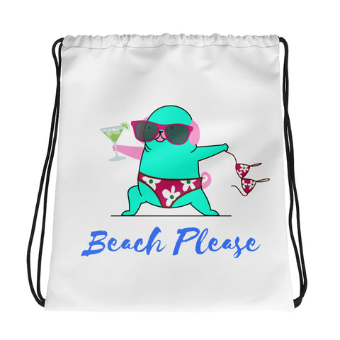 Beach Please Yoga Cat Wearing a Bikini Holding a Margarita While on Vacation Design Drawstring Bag