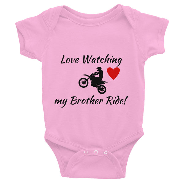 Motocross Dirt Bike Racer Baby Infant Little Brother or Little Sister Bodysuit (Ask if You Want Us to Add Your #)