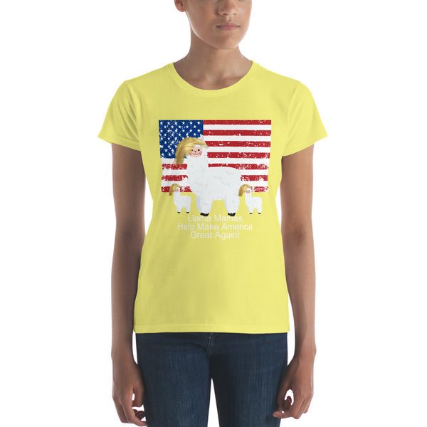 Llama Mama Plus Two Toddlers Babies Help Make America Great Again Funny Women's short sleeve t-shirt
