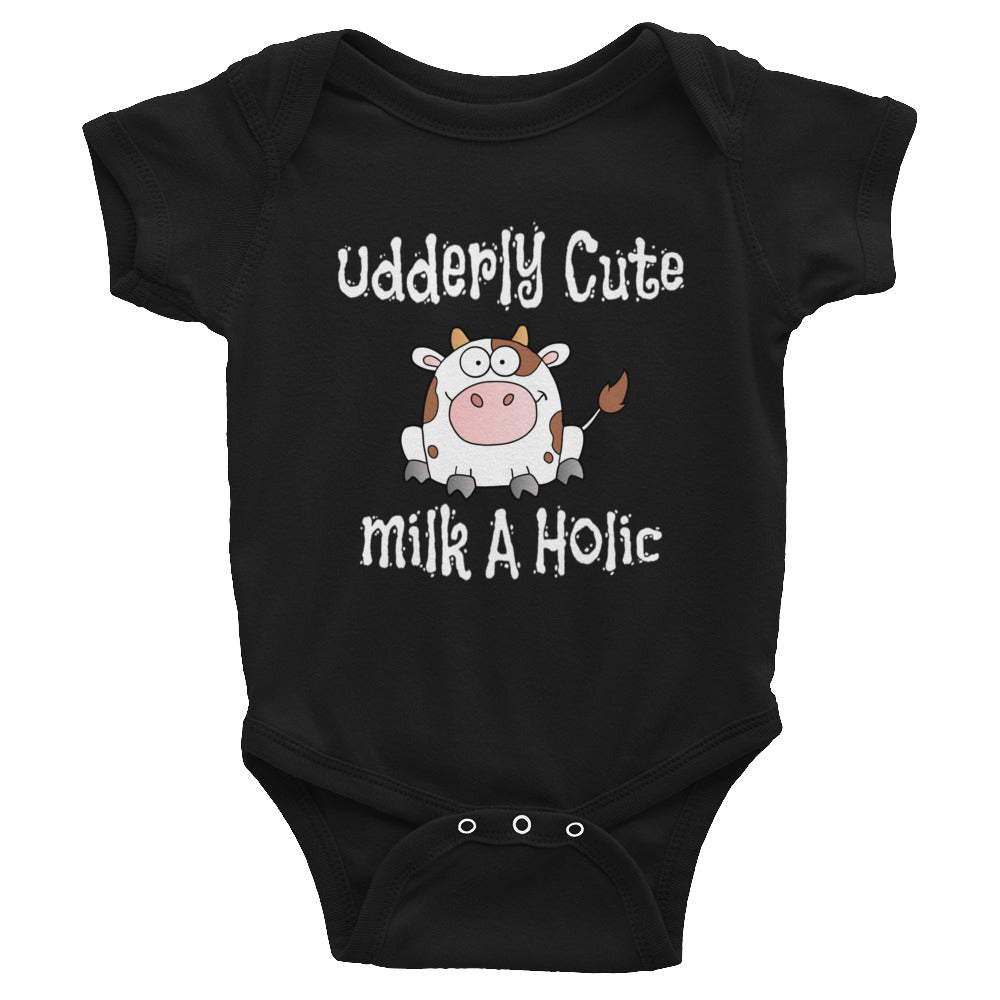 Bodysuit for Baby or Toddler.  Adorable Cow Design.  Makes a Funny Baby Shower Gift.