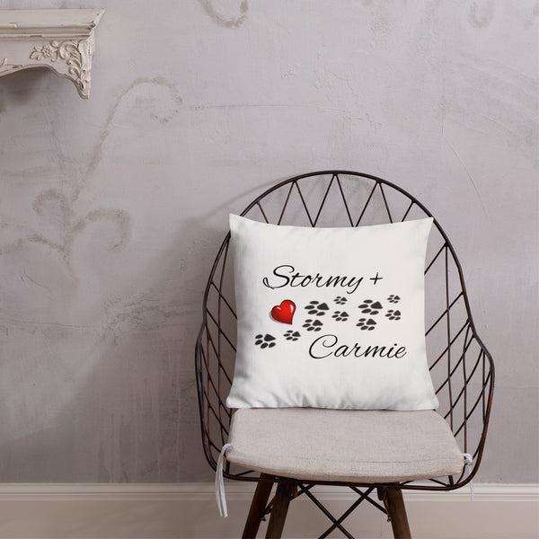 Premium Pillow Dog Print Paws Hearts Choose Your Names