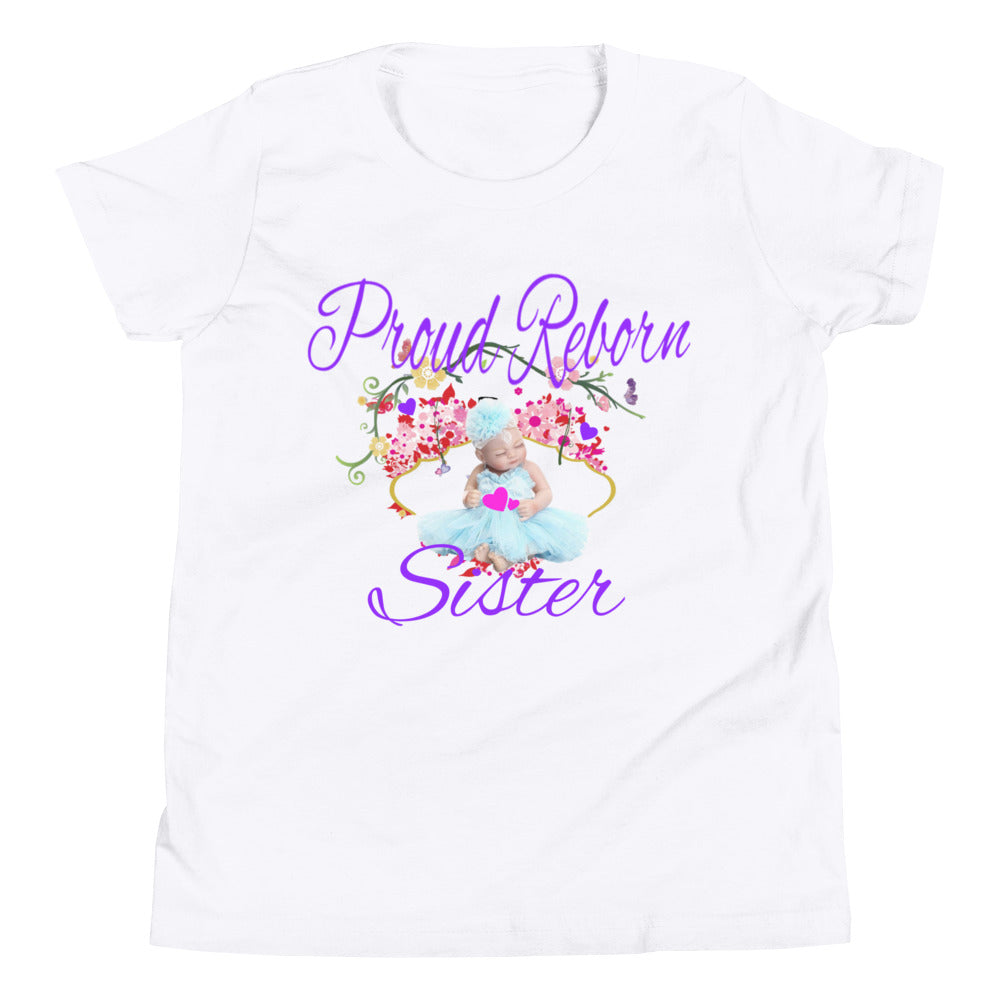 Proud Reborn Sister Youth Short Sleeve T-Shirt WHITE + Purple
