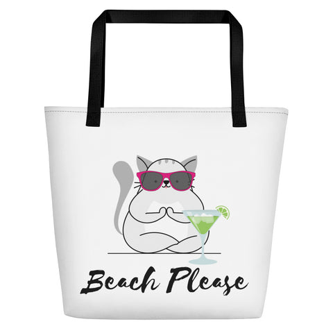 Beach Bag With Adorable Yoga Cat Wearing Sunglasses + Getting Ready to Drink Her Margarita