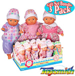 Baby Doll Gift Set of 3 Caucasian Toddler MINI Dolls (Outfits Will Vary)
