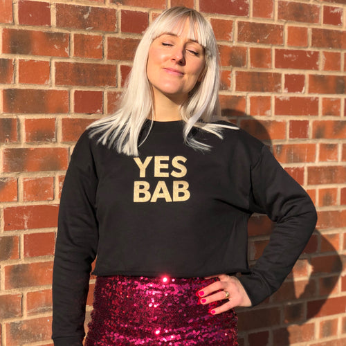 YES BAB eco glitter crop sweat. Limited edition.