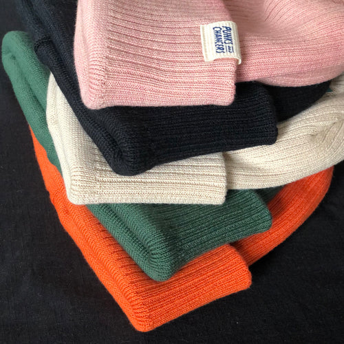 Garment dyed organic ribbed beanie