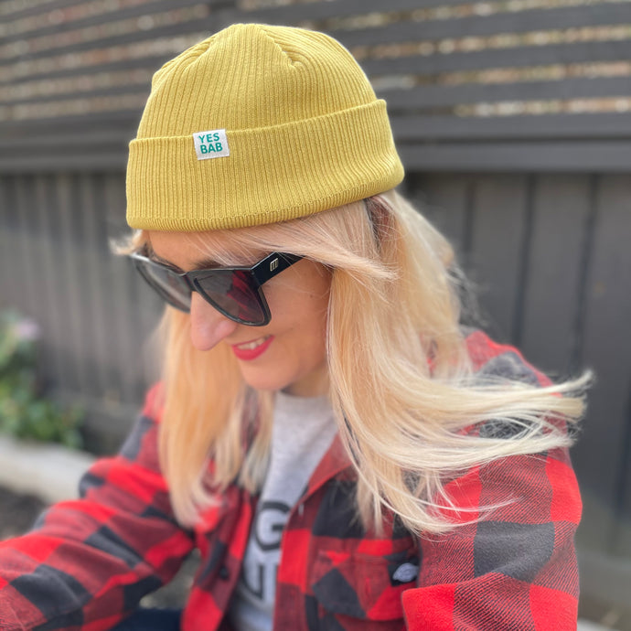 Soft Yellow Garment dyed organic beanie