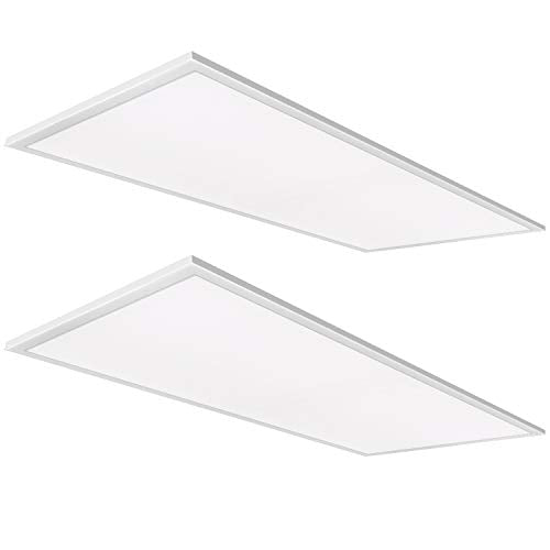 Hykolity LED 5000K 2x4 FT 46W Light, 0-10V Dimmable Drop Ceiling Flat Panel, Recessed Edge-Lit Troffer Fixture, Eligible for Nationwide Rebate Programs, 5750lm DLC Complied-2 Pack