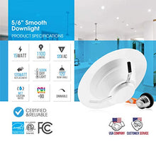 Load image into Gallery viewer, Parmida (4 Pack) 5/6 inch Dimmable LED Recessed Retrofit Downlight, 15W (120W Replacement), Easy Installation, 1100lm, 1100Lm, Energy Star & ETL, LED Ceiling Down Light, LED Trim, 5000K (Day Light)
