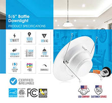Load image into Gallery viewer, Parmida (12 Pack) 5/6 inch Dimmable LED Downlight, 12W (100W Replacement), Baffle Design, Retrofit Recessed Lighting, Can Light, LED Trim, 3000K (Soft White), 1000lm, Energy Star & ETL
