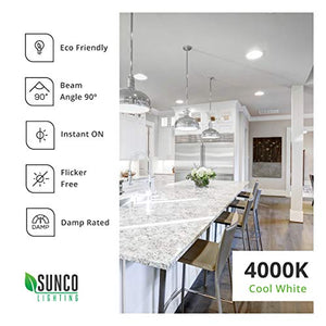Sunco Lighting 4 Pack 5/6 Inch LED Recessed Downlight, Baffle Trim, Dimmable, 13W=75W, 4000K Cool White, 965 LM, Damp Rated, Simple Retrofit Installation - UL + Energy Star