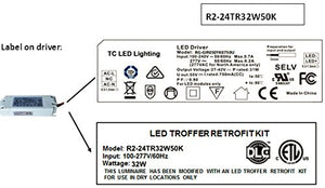 LED 2' X 4' Fluorescent Retrofit Kit, 2 Magnetic Mount LED Strips & 1 Magnetic Mount Driver, 32 Total System Watts, 5000 Kelvin