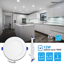 "Load image into Gallery viewer, TORCHSTAR 12W 6"" Ultra-Thin Recessed Ceiling Light with Junction Box, 5000K Daylight, Dimmable Wafer Light Downlight, 850lm 100W Equiv. ETL and Energy Star Certified, Pack of 6"