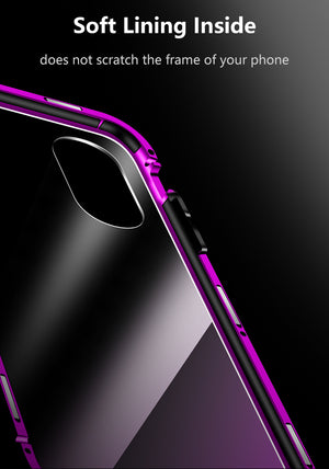Luxury Hard Magnetic Metal Aluminum Transparent Glass Case For iPhone XS Max iPhone XS X