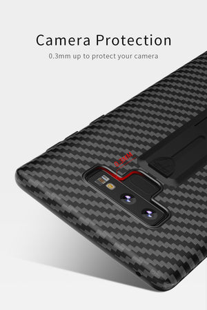Carbon Fiber Ring Stand Case Soft TPU Shockproof Cover Case For Samsung Note 9
