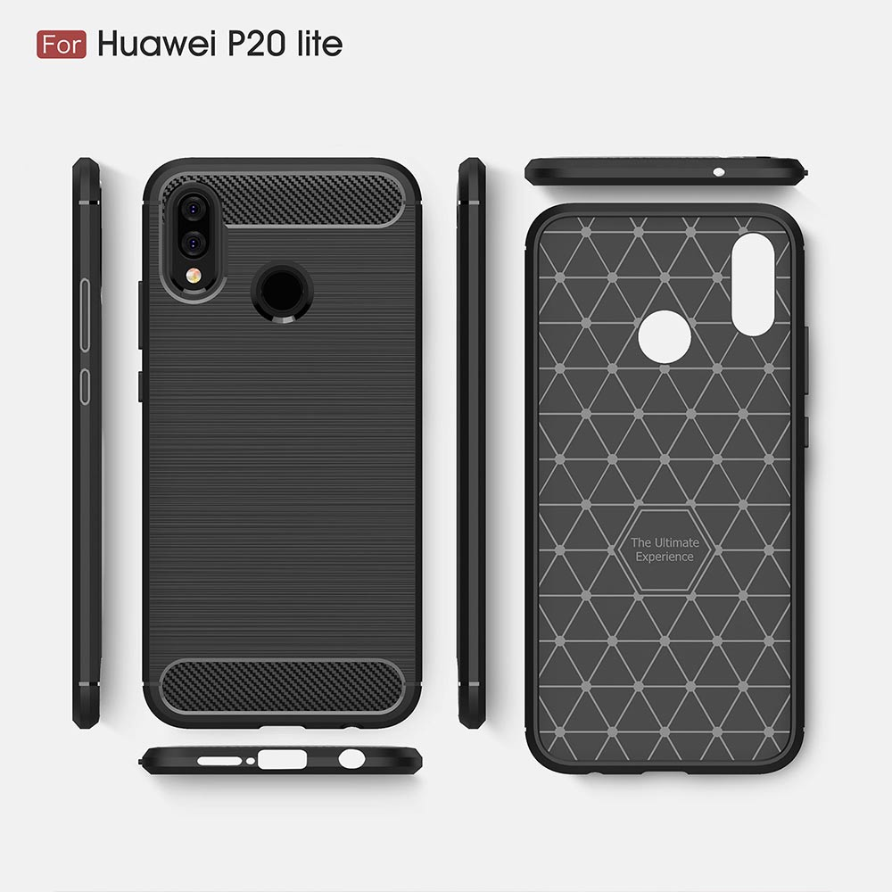 Shockproof Carbon Fiber Bumper Rugged TPU Silcone Case Cover For Huawei P20 Pro P20Lite P20 Case
