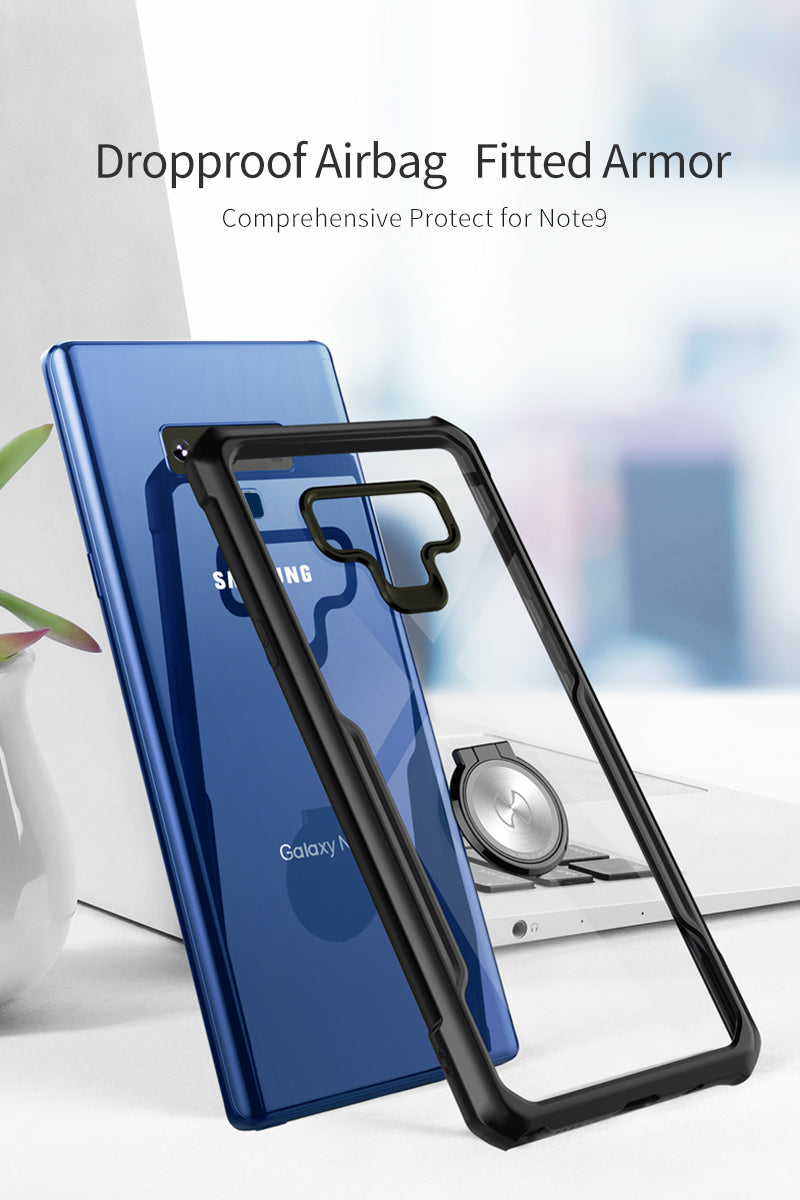 Magnetic Car Holder Stand Finger Ring Clear TPU Back Cover For Samsung Note 9 Case