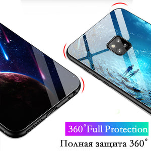 Luminous Tempered Glass Case 360 Protection Back Cover For Huawei Mate 20 20 Pro Mate 20 Lite Case