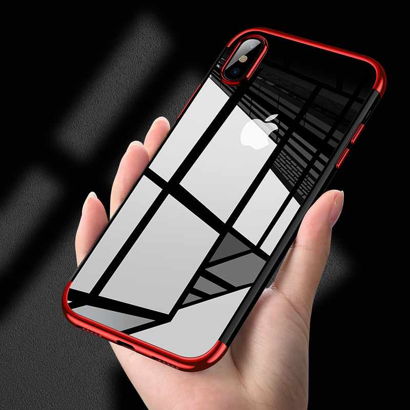 Ultra thin transparent plating shining case for iPhone XS  XS Max  X XR Case