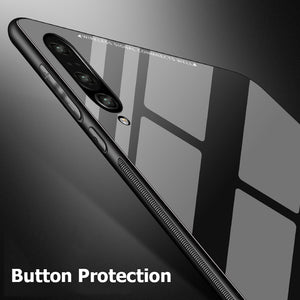 Luxury Slim Fit Glossy Tempered Glass Soft Silicone Frame Shockproof Hard Case Cover For Samsung Galaxy A7 2018 A750