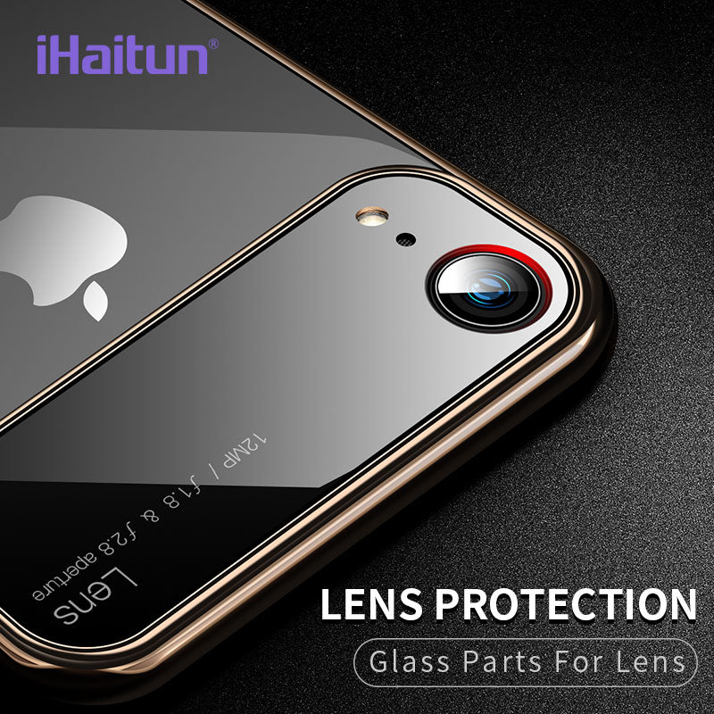 Luxury Lens Glass Ultra Thin PC Transparent Hard Edge Case For iPhone