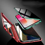 2019 New Double-Sided Glass Metal Frame Magnetic Anti-peep Case For iPhone