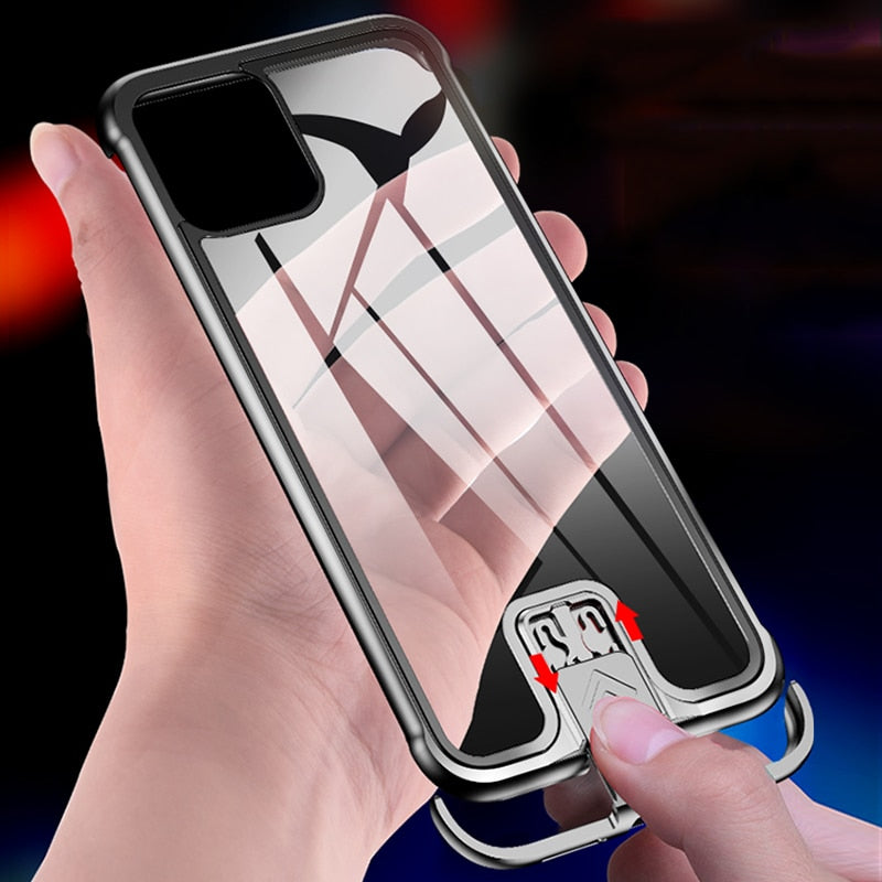Luxury Tempered Glass & Aluminum Metal Slide Case For iPhone 11