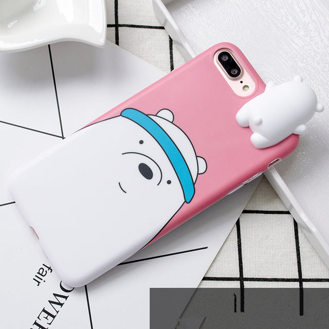3d Cute Cartoon We Bare Bears Brothers Funny Toys Soft Phone Case For Iphone 7 8 Plus 10 X Xr Xs Max Cover Cases Coque