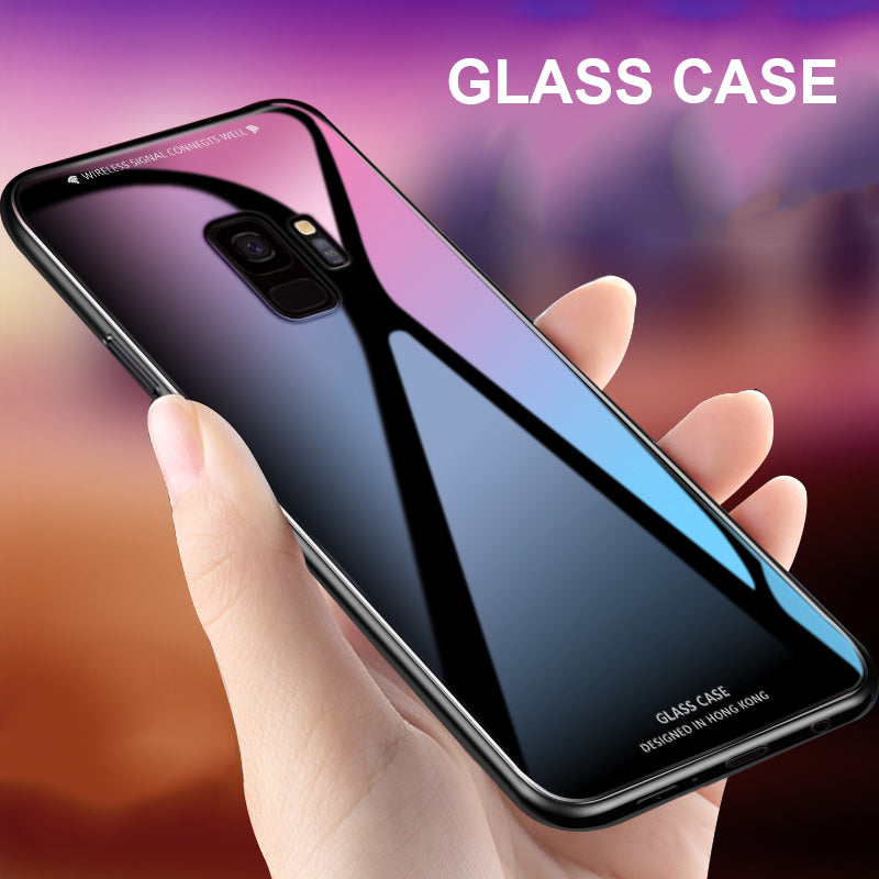 Luxury Slim Fit Glossy Tempered Glass Silicone Frame Hard Cover For Samsung A8 Plus 2018 A6 A8+
