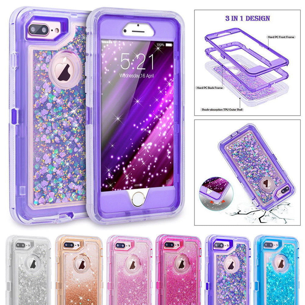 Hybrid 3D Glitter Armor Case for iPhone 8 Plus