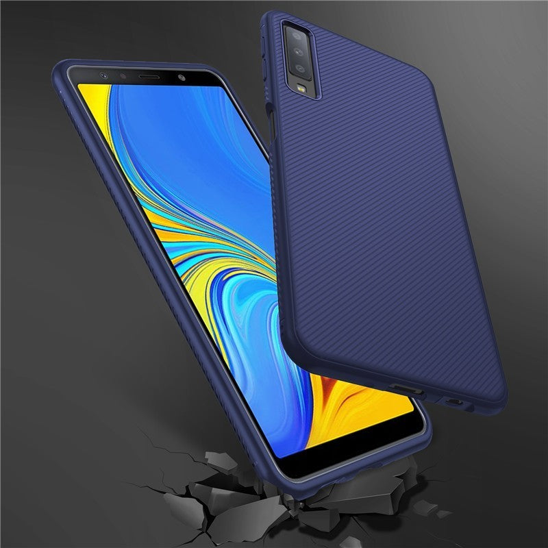 Shockproof Soft TPU Carbon Fiber Brushed Case For Samsung Galaxy A7 2018