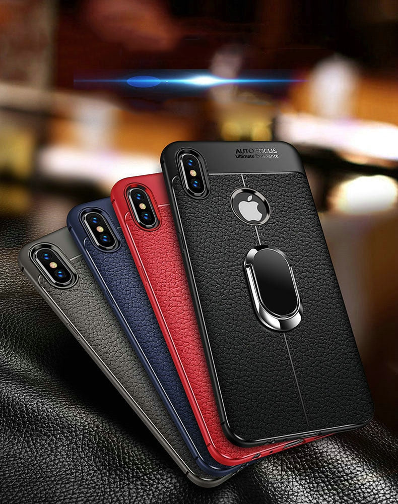 Soft Silicone Leather Case With Magnetic Car Holder For iPhone