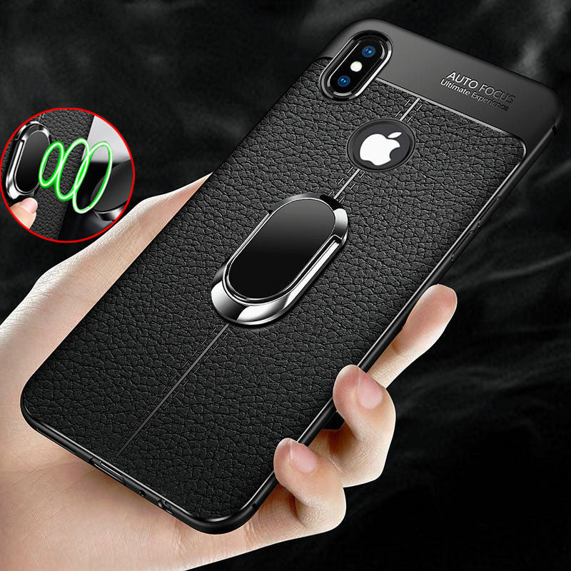 size 40 36dfb f8281 Soft Silicone Leather Case With Magnetic Car Holder For iPhone
