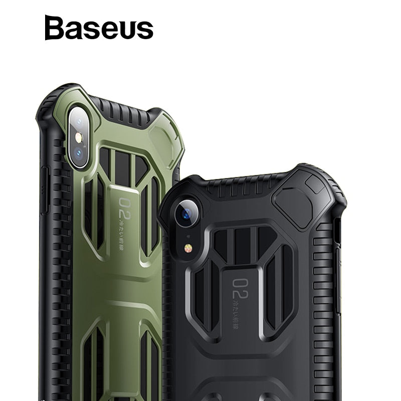 Baseus Military Armor Case For iPhone Xs Xs Max XR 2018 Soft Silicone + Plastic Hybrid Phone Case For iPhone Xs Xs Max Cover